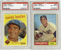 Baseball Cards:Lots, 1959-61 Topps Sandy Koufax PSA-Graded Lot of 2. Includes 1959 Topps #163 EX 5 and 1961 Topps #344 EX-MT 6. Two great cards...