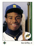 Baseball Cards:Singles (1970-Now), 1989 Upper Deck Ken Griffey Jr. #1. Excellent #1 rookie card of KenGriffey Jr. is the key to Upper Deck's debut 1989 issue...