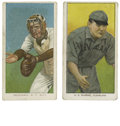 Baseball Cards:Lots, 1909-11 T206 Lot of 2. Two cards from the famed T206 issue. Includes J.J. Clarke (VG) and Fred Snodgrass (catching) (EX)....