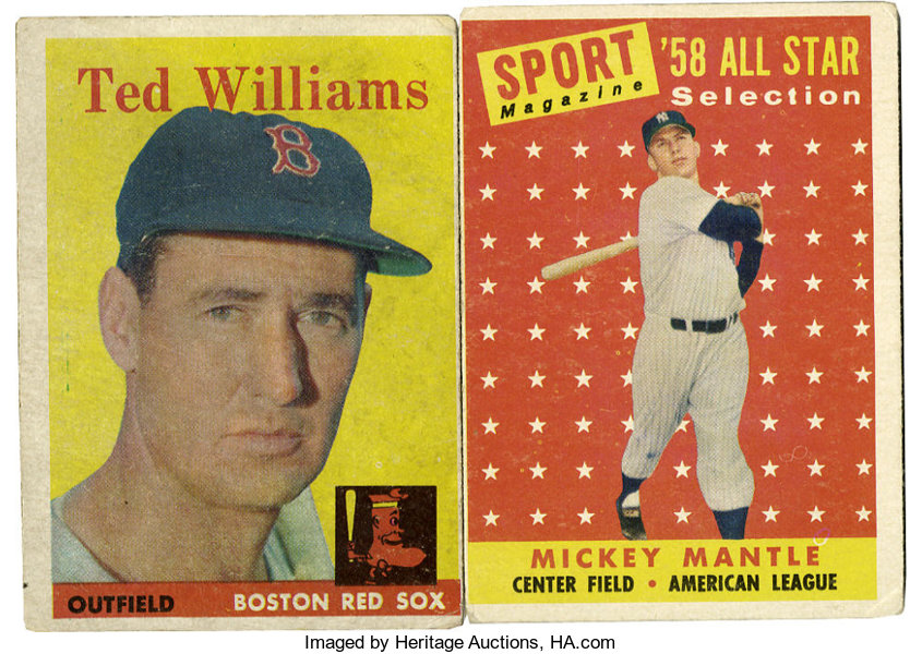 1958 Topps Ted Williams And Mickey Mantle Lot Of 2 One Card Each
