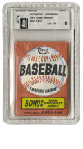 Baseball Collectibles:Others, 1973 Topps Baseball Wax Pack GAI NM-MT 8. High-grade sealed waxpack offered here from the 1974 Topps issue shows very litt...