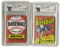 Baseball Collectibles:Others, 1975-76 Topps Baseball Wax Packs GAI-Graded Lot of 2. Offered here are two unopened and encapsulated Topps wax packs, one e... (Total: 2 Items)