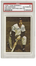Autographs:Sports Cards, 1979 TCMA Joe DiMaggio #1 Signed Card PSA Authentic. The YankeeClipper, considered by many to be one of the most stylish a...