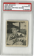 Autographs:Sports Cards, 1948 Bowman Bob Feller #5 Signed Card PSA Authentic. Rapid RobertFeller, whose fastball baffled man a hitter over the cour...