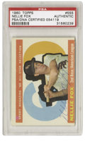 Autographs:Sports Cards, 1960 Topps Nellie Fox #555 Signed Card PSA Authentic. The 1959season was perhaps the most memorable for Nellie Fox as it n...