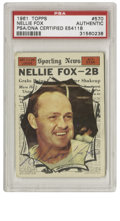 Autographs:Sports Cards, 1961 Topps Nellie Fox #570 Signed Card PSA Authentic. The HOFsecond baseman Nellie Fox brought his scrappy attitude and re...