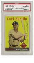 Autographs:Sports Cards, 1958 Topps Carl Furillo #417 Signed Card PSA Authentic. Thesolid-colored backgrounds that are found in the '58 Topps issue...