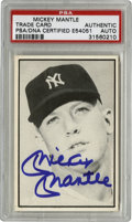 Autographs:Sports Cards, Mickey Mantle Signed Trade Card PSA Authentic. On this trade card,which features a nice close up image of Mickey Mantle, r...