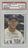 Autographs:Sports Cards, 1982 Mickey Mantle Signed Trade Card PSA Authentic. On this tradecard from the early 1980s resides the recognizable black ...