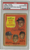 Autographs:Sports Cards, 1962 Topps AL Home Run Leaders (Maris) #53 Signed Card PSAAuthentic. On the Topps card that celebrates Roger Maris' legend...