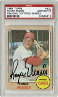 Autographs:Sports Cards, 1968 Topps Roger Maris #330 Signed Card PSA Authentic. From 1968, his last year in the majors, we present this Topps Maris ...