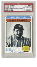 Autographs:Sports Cards, 1973 Topps Babe Ruth All-Time R.B.I. Leader #474, Signed By RogerMaris PSA Authentic. On this '73 Topps card which celebra...