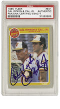 Baseball Cards:Singles (1970-Now), 1985 Fleer Cal Ripken and Cal, Jr. #641 Dual-Signed Card PSA Authentic. The famed father-son duo of Cal Ripken and Cal, Jr....