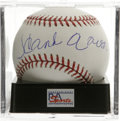 Autographs:Baseballs, Hank Aaron Single Signed Baseball, PSA Mint+ 9.5. Now that itappears his home run crown is safe, there has never been a be...