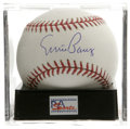 Autographs:Baseballs, Ernie Banks Single Signed Baseball, PSA Mint 9.5. A splendid sweetspot signature from the Chicago Cubs slugger. Ball has ...