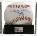 "Autographs:Baseballs, Steve Carlton ""Lefty"" Single Signed Baseball, PSA Mint+ 9.5. TheHall of Fame southpaw adds his nickname to his stunning sw..."
