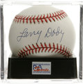 Autographs:Baseballs, Larry Doby Single Signed Baseball, PSA Mint 9. A stellar singlefrom the Negro League Hall of Famer. Ball has been encapsul...