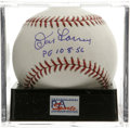 "Autographs:Baseballs, Don Larsen ""PG 10-8-56"" Single Signed Baseball, PSA Mint+ 9.5. Anear-perfect single from the Perfect Game pitcher. Ball h..."
