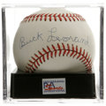 Autographs:Baseballs, Buck Leonard Single Signed Baseball, PSA NM-MT 8.5. OAL (Brown)ball offers a strong sweet spot signature from this Negro L...