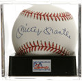 Autographs:Baseballs, Mickey Mantle Single Signed Baseball, PSA NM-MT+ 8.5. The greatMickey Mantle gives us this OAL (Brown) ball adorned with a...