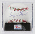 Autographs:Baseballs, George Steinbrenner Single Signed Baseball, PSA NM/MT+ 8.5.Controversial New York Yankees owner George Steinbrenner offers...