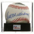 Autographs:Baseballs, Ted Williams Single Signed Baseball, PSA NM-MT+ 8.5. A bold blue ink sweet spot signature from the greatest hitter that eve...