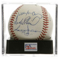 Autographs:Baseballs, 500 Home Club Members Signed Baseball, PSA NM-MT 8. ONL (Giamatti)ball honors four members of the illustrious Club: McCove...