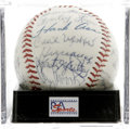 Autographs:Baseballs, 1967 Atlanta Braves Team-Signed Baseball, PSA Mint 9. The ONL(Giles) sphere provided here dates from 1967 and contains thi...