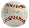 Autographs:Baseballs, Joe DiMaggio Single Signed Baseball. OAL (Budig) baseball is lightly toned and offers 10/10 sweet spot black ink signature ...