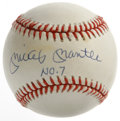 "Autographs:Baseballs, Mickey Mantle ""No. 7"" Single Signed Baseball. Few items in thehobby hold the desirability of a single signed Mick orb. Her..."