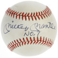 """Autographs:Baseballs, Mickey Mantle """"No. 7"""" Single Signed Baseball. OAL (Brown) orb presented here has been signed on the sweet spot by the hero..."""