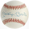 Autographs:Baseballs, Mickey Mantle Single Signed Baseball. OAL (Brown) baseball displaysin very light cream off-white and sports a sharp sweet ...