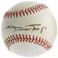 Autographs:Baseballs, Willie Mays Single Signed Baseball. OAL (Brown) orb exhibits alight, but even toning and has been signed on the sweet spot...