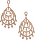 Estate Jewelry:Earrings, Sapphire, Pink Gold Earrings. ...
