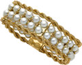 Estate Jewelry:Bracelets, Cultured Pearl, Gold Bracelet, Neiman Marcus. ...