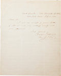 Photography:CDVs, Union General Isaac I. Stevens Autograph Note Signed....