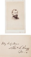 Photography:CDVs, Union General Edward S. Bragg Carte de Visite with a Signed Card.... (Total: 2 )