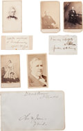 Photography:CDVs, [Abraham Lincoln]. Cartes de Visite and Signatures of Two Lincoln Cabinet Members, One Supreme Court Justice, and O...