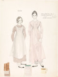 "Movie/TV Memorabilia:Costumes, A Heather Menzies-Urich and Diane Sherry Case Costume Design Sketchby Dorothy Jeakins from ""Hawaii.""..."