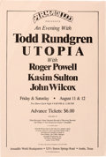 Music Memorabilia:Posters, Todd Rundgren and Utopia Window Card (1978)....