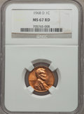 Lincoln Cents: , 1968-D 1C MS67 Red NGC. NGC Census: (15/0). PCGS Population (19/0). Numismedia Wsl. Price for problem free NGC/PCGS coin i...