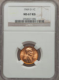 Lincoln Cents: , 1969-D 1C MS67 Red NGC. NGC Census: (13/0). PCGS Population (8/0). ...