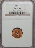 1951 1C MS67 Red NGC. NGC Census: (30/0). PCGS Population (19/0). Mintage: 284,633,504. Numismedia Wsl. Price for proble...
