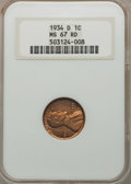 1934-D 1C MS67 Red NGC. NGC Census: (23/0). PCGS Population (28/0). Mintage: 28,446,000. Numismedia Wsl. Price for probl...