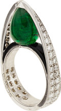 Estate Jewelry:Rings, Emerald, Black Onyx, Diamond, White Gold Ring, Scavia. ...