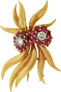 Estate Jewelry:Brooches - Pins, Diamond, Ruby, Gold Brooch, Linz. ...