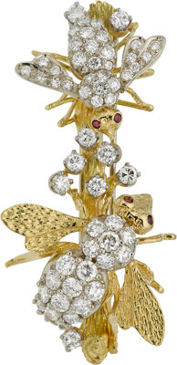 Diamond, Ruby, Gold Brooch