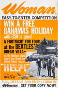 "Music Memorabilia:Posters, Beatles - Woman Magazine (UK) Contest Poster Picturing the Beatles and Their Bahamas ""Dream Villa"" (Circa 1965)...."