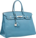 "Luxury Accessories:Bags, Hermes 35cm Blue Jean Clemence Leather Birkin Bag with PalladiumHardware. Very Good Condition. 14"" Width x 10""Height..."
