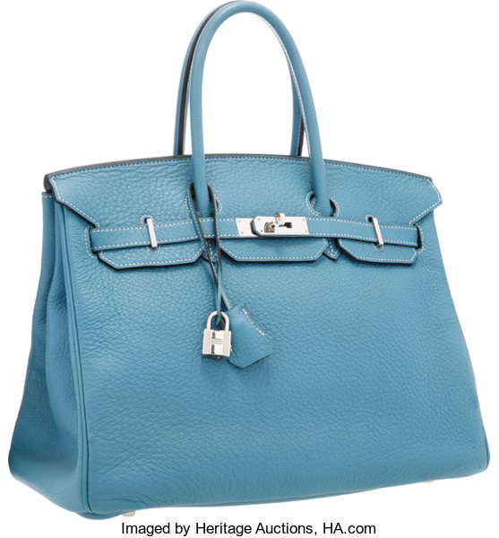6f829b7e69 Hermes 35cm Blue Jean Clemence Leather Birkin Bag with